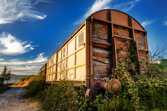 Cargo trains old train eaten by rust Royalty Free Stock Photos