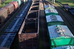 Cargo trains. Transportation and distribution background. Cargo trains logistics. Transportation and distribution background stock image