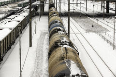 Cargo trains in winter Royalty Free Stock Images