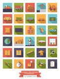 Cargo, transport and logistics square flat icons vector set. Royalty Free Stock Photos