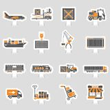 Cargo Transport and Packaging two color sticker set Royalty Free Stock Photography