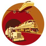 Cargo transportation. Vectorial round vignette on theme of cargo transportation with three basic types of transports, executed in the limited palette. No Stock Photos