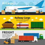 Cargo transportation banners. Logistics sea air loads delivery vector illustration Stock Photography