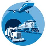 Cargo transportation blue. Vectorial round vignette on theme of cargo transportation with three basic types of transports, executed in the limited palette. No Stock Photo