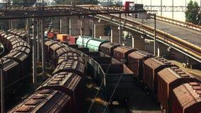 Cargo transportation concept. Railway goods station in the Odessa, Ukraine stock video