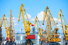 Cargo transportation concept - industrial sea port and cranes, railways, warehouses Royalty Free Stock Photography