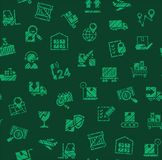 Delivery of goods, seamless pattern, color, shading, pencil, icons, green, vector. Cargo transportation and delivery of goods. Vector flat seamless pattern royalty free illustration