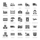 Cargo transportation flat glyph icons Trucking, express delivery, logistics, shipping, customs , package, tracking. Symbols. Transport signs freight services stock illustration