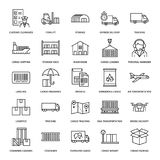 Cargo transportation flat line icons. Trucking, express delivery, logistics, shipping, customs clearance, cargoes. Package, tracking and labeling symbols royalty free illustration