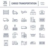 Cargo transportation flat line icons. Trucking, express delivery, logistics, shipping, customs clearance, cargoes. Package, tracking and labeling symbols vector illustration
