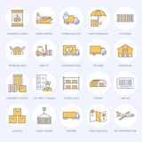 Cargo transportation flat line icons. Trucking, express delivery, logistics, shipping, customs clearance, cargoes. Package, tracking and labeling symbols Stock Photography
