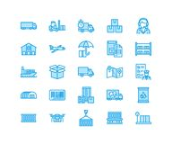 Cargo transportation flat line icons Trucking, express delivery, logistics, shipping, customs clearance, package. Tracking labeling symbols. Transport thin vector illustration