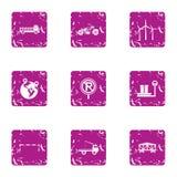 Cargo transportation icons set, grunge style Royalty Free Stock Image