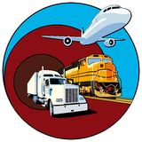 Cargo transportation II. Vectorial round vignette on theme of cargo transportation with three basic types of transports, executed in the limited palette. No Royalty Free Stock Photo