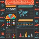 Cargo transportation infographics, trucks, lorry. Elements infog Stock Image