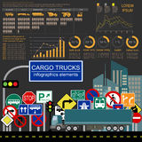 Cargo transportation infographics, trucks, lorry. Elements infog. Raphics.  Vector illustration Royalty Free Stock Photo