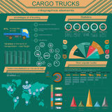 Cargo transportation infographics, trucks, lorry. Elements infog. Raphics.  Vector illustration Royalty Free Stock Photography