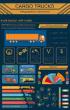 Cargo transportation infographics, trucks, lorry. Elements infog Royalty Free Stock Image