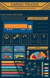 Cargo transportation infographics, trucks, lorry. Elements infog. Raphics.  Vector illustration Royalty Free Stock Image
