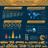 Cargo transportation infographics, trucks, lorry. Elements infog Royalty Free Stock Photos