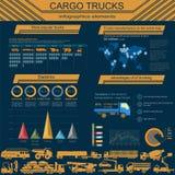 Cargo transportation infographics, trucks, lorry. Elements infog. Raphics.  Vector illustration Royalty Free Stock Photos