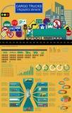 Cargo transportation infographics, trucks, lorry. Elements infog. Raphics.  Vector illustration Stock Image