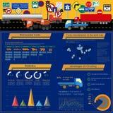 Cargo transportation infographics, trucks, lorry. Elements infog. Raphics.  Vector illustration Royalty Free Stock Images