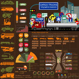 Cargo transportation infographics, trucks, lorry. Elements infog. Raphics.  Vector illustration Stock Photo