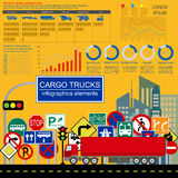 Cargo transportation infographics, trucks, lorry. Elements infog Stock Photos