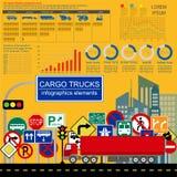 Cargo transportation infographics, trucks, lorry. Elements infog Stock Photos