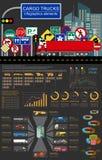 Cargo transportation infographics, trucks, lorry. Elements infog. Raphics.  Vector illustration Royalty Free Stock Photography