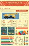 Cargo transportation infographics, trucks, lorry. Elements infog. Raphics.  Vector illustration Stock Photography