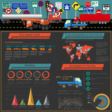 Cargo transportation infographics, trucks, lorry. Elements infog Royalty Free Stock Photography