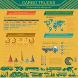 Cargo transportation infographics, trucks, lorry. Elements infog Stock Photo