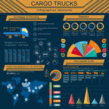 Cargo transportation infographics, trucks, lorry. Elements infog Stock Photo