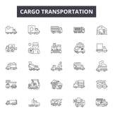 Cargo transportation line icons for web and mobile design. Editable stroke signs. Cargo transportation outline concept royalty free illustration