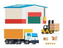 Cargo transportation. Loading and unloading trucks vector illustration. Cargo transportation. Loading and unloading trucks. Transportation and distribution Royalty Free Stock Photo