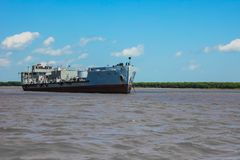 Cargo transportation by river Stock Image