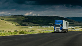 Cargo transportation, truck on highway Stock Photography