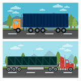 Cargo Transportation. Truck and Trailer. Delivery Trucks Stock Photos