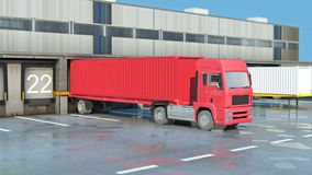 Cargo Transportation - Truck in the warehouse Stock Images