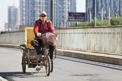 Cargo tricycle on the road in Beijing, China Stock Photos