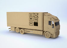 Cargo truck. With box texture (3d render Stock Image