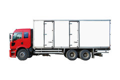 Cargo Truck. Red white truck isolated on a white background Stock Image