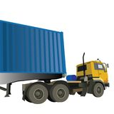 Cargo truck. Illustration of a cargo container truck isolated over white background Stock Images