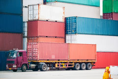 Cargo truck in container depot Stock Photos