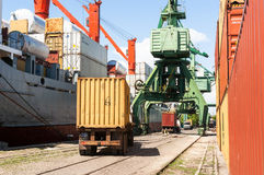 Cargo truck with container at port Royalty Free Stock Images