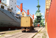 Cargo truck with container at port Stock Photography
