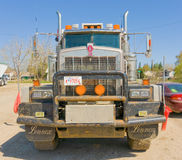 A cargo truck at dawson creek, canada. A close-up of a semi parked at a rest area in british columbia stock image