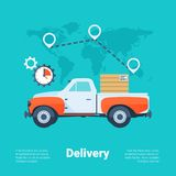 Cargo Truck. Delivery Service Concept. Flat Style with Long Shadows. Clean Design. Stock Photos